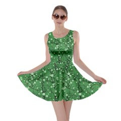 Green Tree Pattern Japanese Cherry Blossom Skater Dress by CoolDesigns