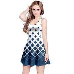 White & Blue Gradient With Black Rhombuses Sleeveless Skater Dress by CoolDesigns