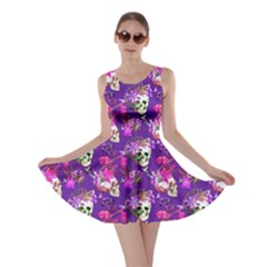 Purple Skull And Flowers Pattern Skater Dress
