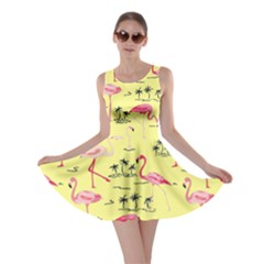 Light Yellow Flamingo Bird Pattern Skater Dress by CoolDesigns