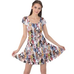 Colorful Pattern Colourful Cartoon Horses Cap Sleeve Dress by CoolDesigns