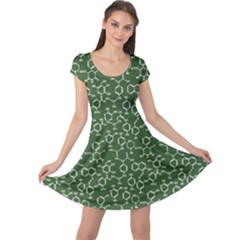 Green Organic Chemistry Pattern With Formulas Cap Sleeve Dress by CoolDesigns