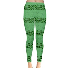 Shamrock Stripes Leggings  by CoolDesigns