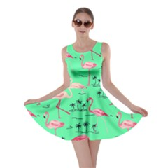 Neon Green Flamingo Bird Pattern Skater Dress by CoolDesigns