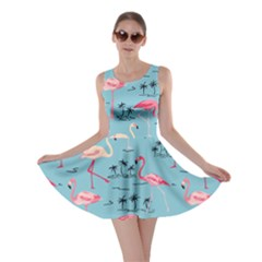 Light Blue Flamingo Bird Pattern Skater Dress by CoolDesigns