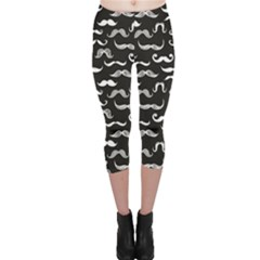 Black Pattern Hipster White Mustache Capri Leggings by CoolDesigns
