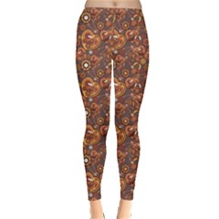 Brown Pattern Steampunk Mechanism Metal Leggings