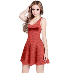 Red A Pattern With Dinosaur Silhouettes Sleeveless Dress