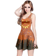 Pumpkin Face Reversible Sleeveless Dress by CoolDesigns