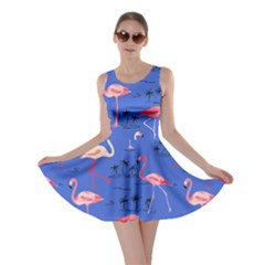 Blue Flamingo Bird Pattern Skater Dress by CoolDesigns