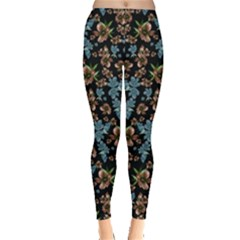 Black & Blue Floral Leggings by CoolDesigns