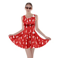 Red Lovely Cats Pattern Skater Dress by CoolDesigns