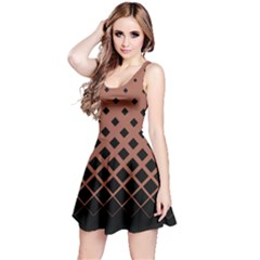 Mocha Gradient With Black Rhombuses Sleeveless Skater Dress