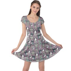Gray Owl Pattern Cap Sleeve Dress by CoolDesigns