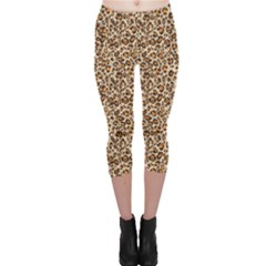 Brown Leopard Pattern Seamless Repeating Animal Capri Leggings by CoolDesigns