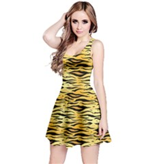 Yellow Tiger Pattern Sleeveless Skater Dress by CoolDesigns