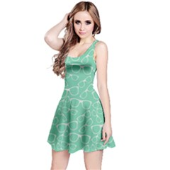 Mint Glasses Retro Sunglasses Sleeveless Skater Dress by CoolDesigns