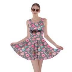 Dark Gray Lollipop Candy Macaroon Cupcake Donut Skater Dress by CoolDesigns
