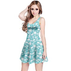 Aqua Grunge Skulls Pattern Sleeveless Skater Dress  by CoolDesigns