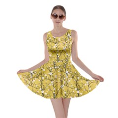 Yellow Tree Pattern Japanese Cherry Blossom Skater Dress by CoolDesigns