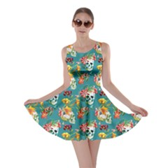 Teal Skull And Flowers Pattern Skater Dress by CoolDesigns