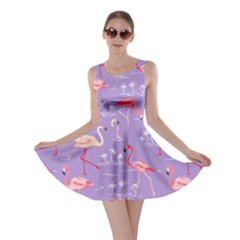 Violet Flamingo Bird Pattern Skater Dress by CoolDesigns