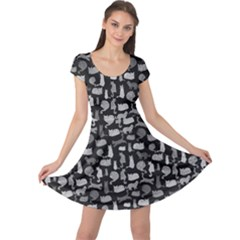 Black White Cats On Black Pattern For Your Design Cap Sleeve Dress by CoolDesigns