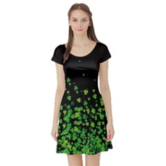 Shamrock Falling Short Sleeve Skater Dress by CoolDesigns