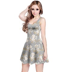 Gray Octopus Short Sleeve Skater Dress
