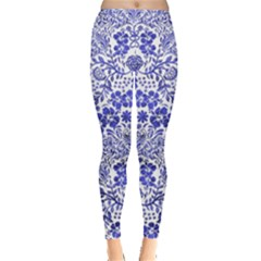 Blue Vintage Floral Leggings  by CoolDesigns