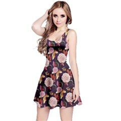 Dark Purple Vintage Roses Pattern Sleeveless Skater Dress
