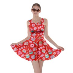 Red Yummy Colorful Sweet Lollipop Candy Macaroon Cupcake Donut Seamless Skater Dress  by CoolDesigns