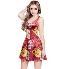 Red Skull Skull With Flowers Reversible Sleeveless Dress  by CoolDesigns