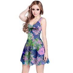 Blue Floral Sleeveless Dress by CoolDesigns