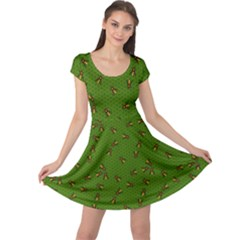 Green Pattern Of The Bee On Honeycombs Cap Sleeve Dress
