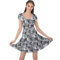 Colorful Doodle Dogs And Cats Pattern Cap Sleeve Dress by CoolDesigns