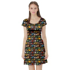 Black Set Of Funny Cartoon Animals Character On Black Zoo Short Sleeve Skater Dress by CoolDesigns