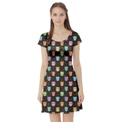 Black Pattern With Colorful Owls On Dark Short Sleeve Skater Dress by CoolDesigns