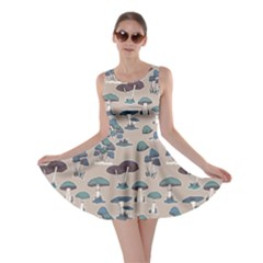 Blue Colorful Mushrooms Pattern Skater Dress by CoolDesigns