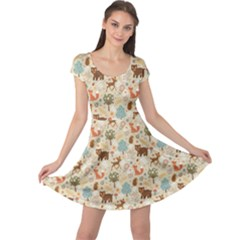 Colorful Colorful Woodland Animals Pattern Cap Sleeve Dress