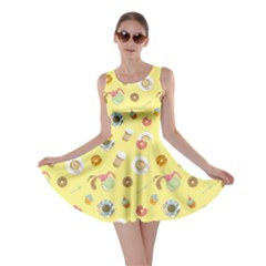 Yellow Bright Colorful Flat Pattern With Cups Of Black Coffee Skater Dress by CoolDesigns