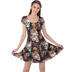 Colorful Beautiful Pattern With Nice Watercolor Skull And Flowers Cap Sleeve Dress