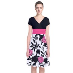 Black & Pink Short Sleeve Front Wrap Dress by CoolDesigns