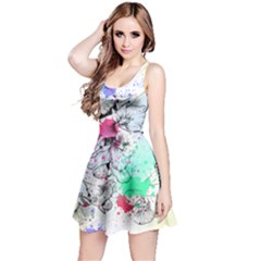 Inkfloral1 Sleeveless Skater Dress by CoolDesigns