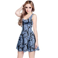 Light Blue Ravens Pattern Reversible Sleeveless Dress