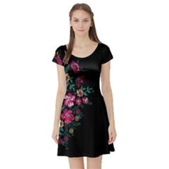 Pink In Dark Short Sleeve Skater Dress by CoolDesigns