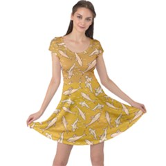 Yellow With Stylized Sharks Stylish Design Cap Sleeve Dress by CoolDesigns