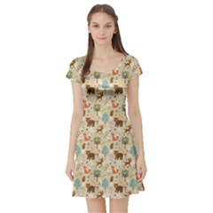 Colorful Colorful Woodland Animals Pattern Short Sleeve Skater Dress by CoolDesigns