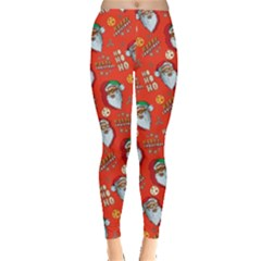 Orange Red Santa Leggings  by CoolDesigns