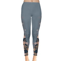 Navy & Blue Floral Leggings  by CoolDesigns